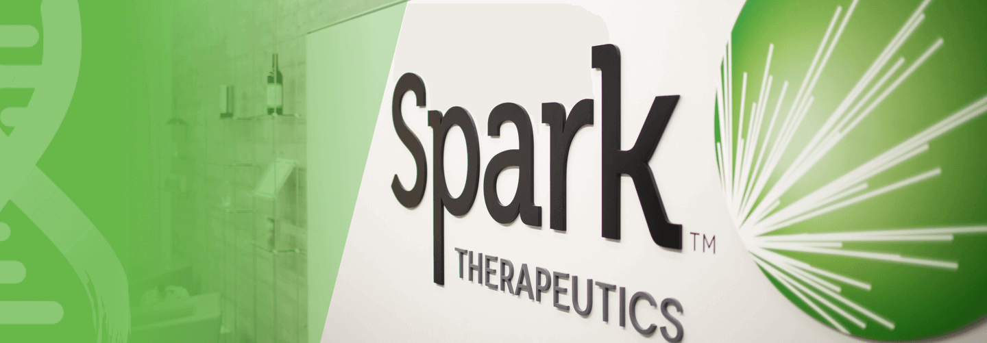 Spark Therapeutics logo mounted on the lobby wall